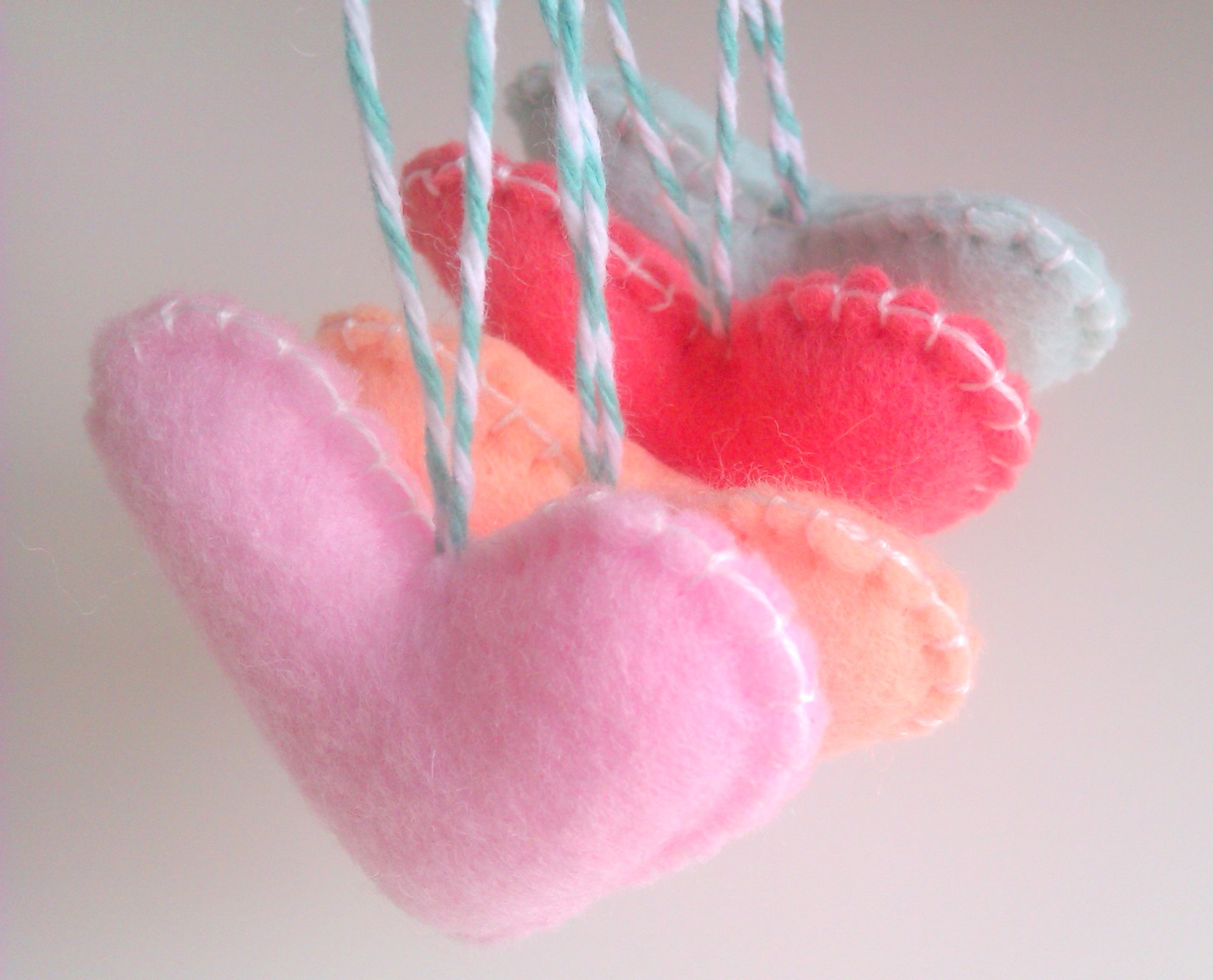 Wedding/party Hearts Decorations - Pastel, Pale Pink, Mint, Peach ...